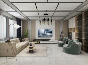 鼎美顶墙集成无胶大板系列现代客厅装修效果图,鼎美集成吊顶