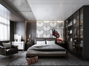 鼎美顶墙集成无胶大板系列美式工业卧室效果图