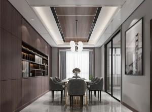 鼎美顶墙集成无胶大板系列意式轻奢餐厅效果图