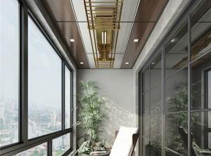 鼎美顶墙集成无胶大板系列中式阳台装修效果图