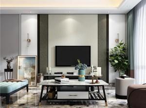 海创竹木纤维集成墙板现代客厅装修效果图,海创集成墙面背景墙效果图