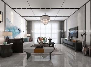 来斯奥集成吊顶新中式客厅装修效果图,来斯奥铝蜂窝大板吊顶