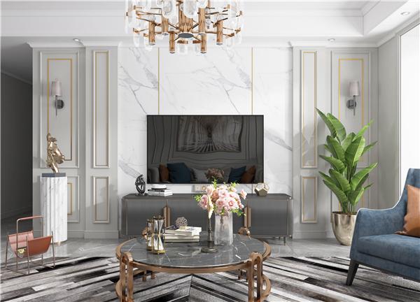 云木集成墙面美式轻奢客厅装修效果图图片