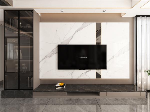 云木集成墙面现代轻奢客厅装修效果图图片