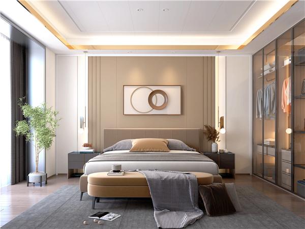 云木集成墙面现代轻奢卧室装修效果图图片